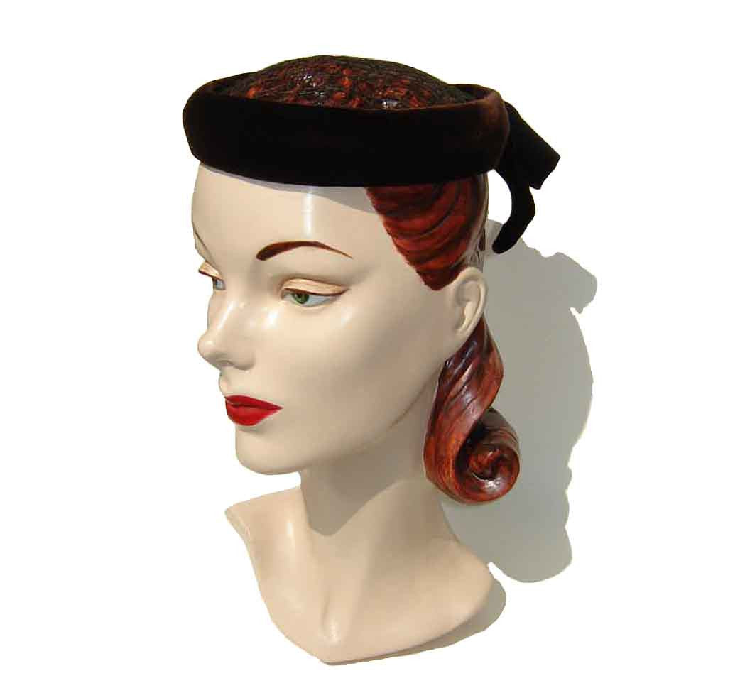50s Cocktail Hat Brown Velvet Diadem - Hat by Bertha