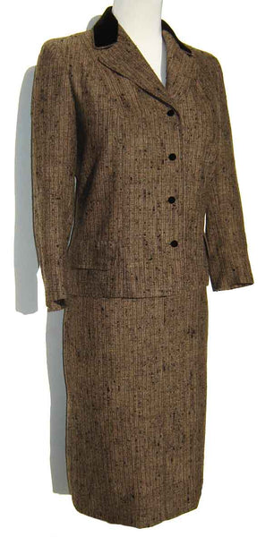 60s Vera Maxwell Two Piece Brown Suit