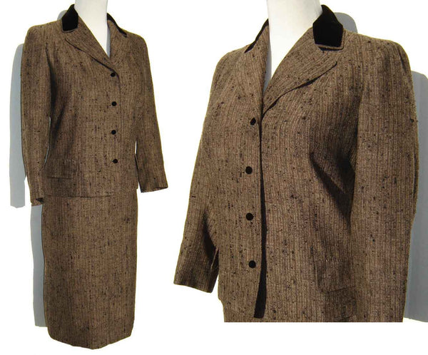 60s Vera Maxwell Suit Brown Wool Tweed Jacket & Skirt w/ Velvet Trim M