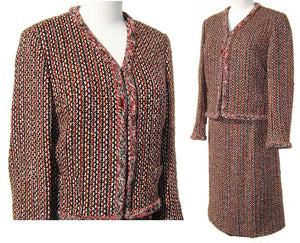 Celine Ladies Suit Vintage Wool Tweed Jacket & Skirt Paris Chanel Style M