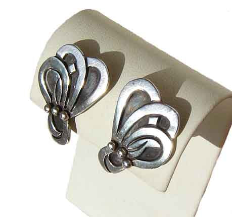 40s Modernist Taxco Earrings Beto Sterling Silver Pre Eagle Mark