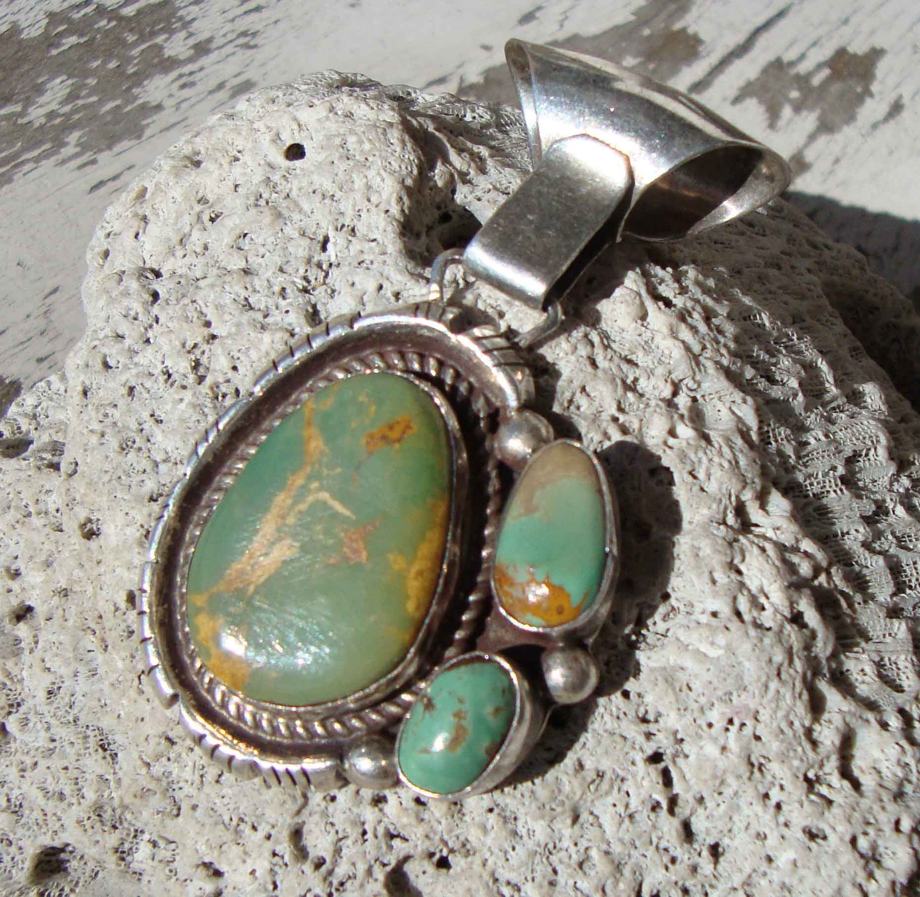 Navajo Turquoise Pendant Josephine Benally Sterling Silver Southwestern Indian