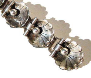 40s Georg Jensen Bracelet Sterling Art Deco Scallop Shell Links
