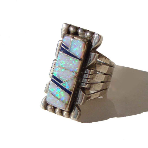 70s Zuni Ring Opal & Sterling Silver Southwestern Indian