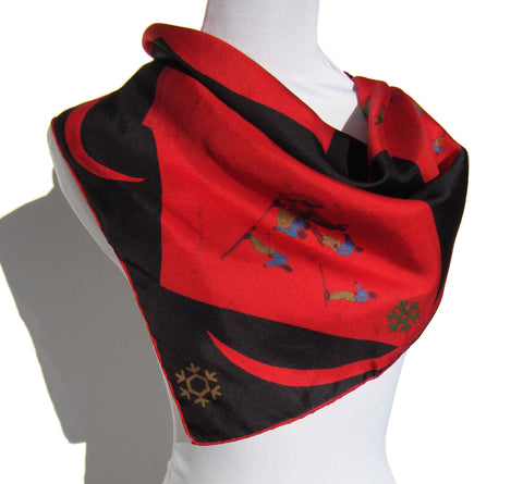 50s Silk Scarf Ski Slope Red & Black Novelty Slalom Skiers