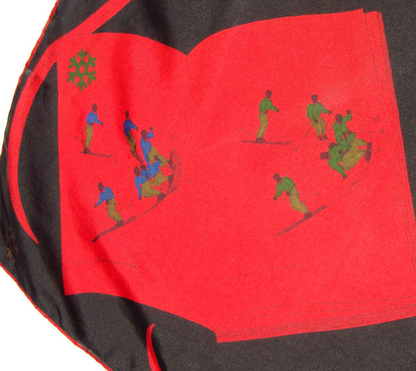 Close Up of 50s Silk Scarf Ski Slope Red & Black Novelty Slalom Skiers