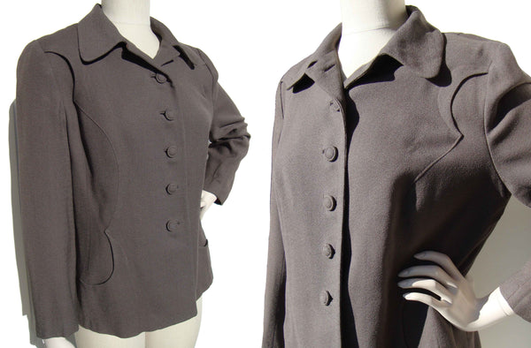 50s Topper Jacket Art Deco Gray Wool Crepe by Handmacher
