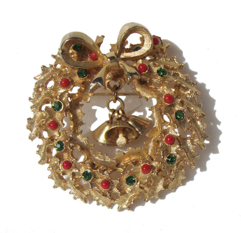 Vintage 60s Christmas Wreath Brooch
