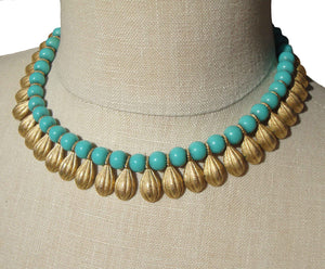 Vintage Trifari Cleopatra Necklace Turquoise Beaded Egyptian Revival Fringe Choker