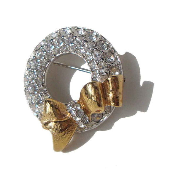 Swarovski Christmas Wreath Brooch Pin