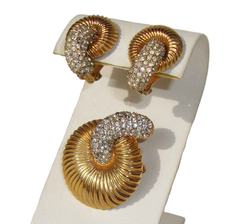 Vintage Mimi di N Demi Parure Floral Rhinestone Brooch & Earrings Set