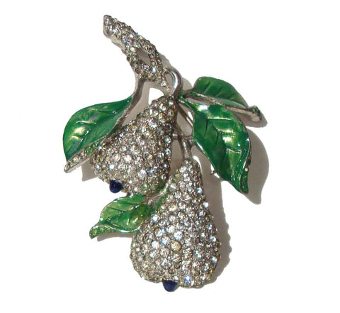 Vintage DuJay Pears Brooch Rhinestone Art Deco Fruit Pin