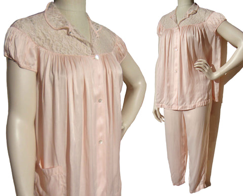 50s Barbizon Pajamas Pink Ladies 2 Piece Set Babydoll Sleepwear Lingerie NOS – S / M