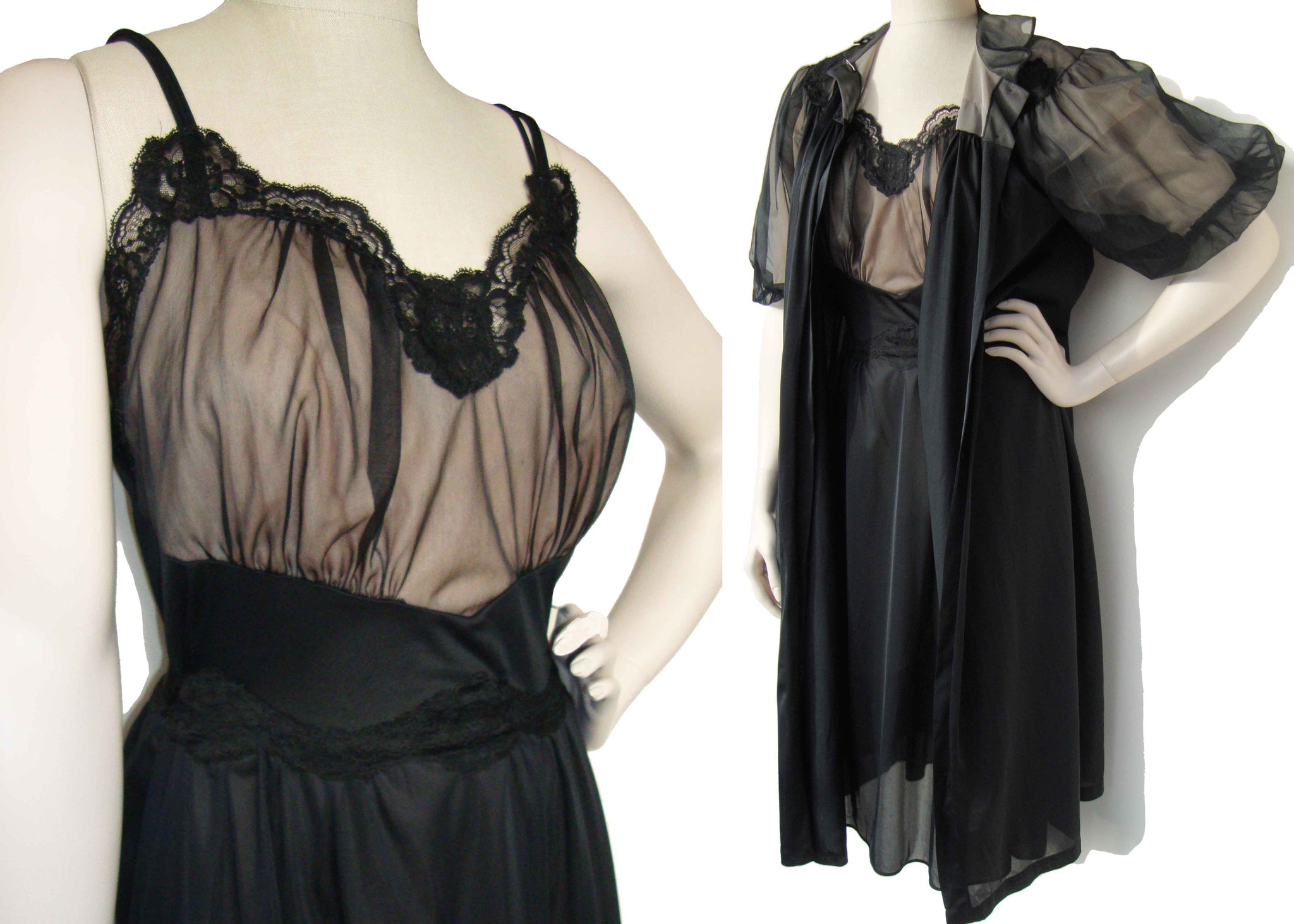 Vintage 50s Black Peignoir Set