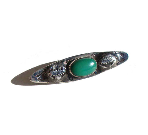 Vintage 30s Fred Harvey Brooch Sterling Silver & Turquoise Indian Bar Pin