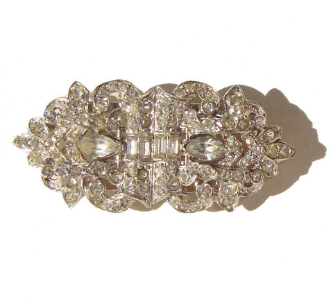Vintage 30s Rhinestone Duette Brooch & Dress Clips Combination