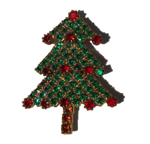 Vintage Juliana Christmas Brooch Rhinestone D&E Xmas Tree Pin