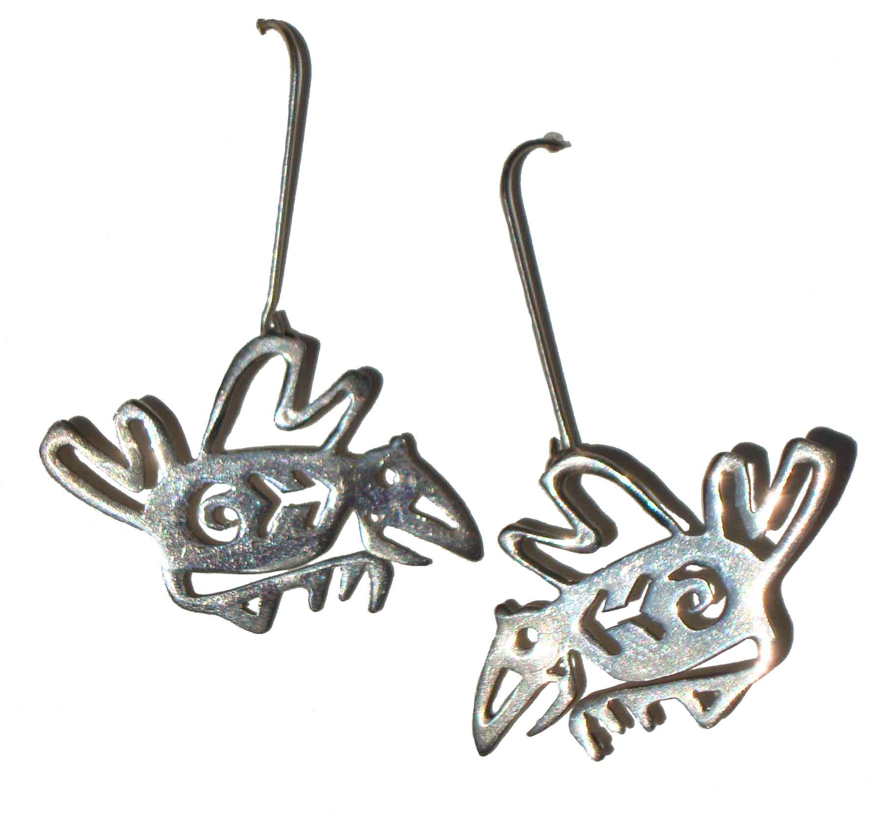 Vintage Petroglyph Birds Sterling Silver Bird Earrings