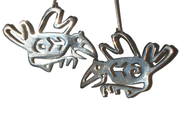 Sterling Bird Petroglyph Earrings - Metro Retro Vintage