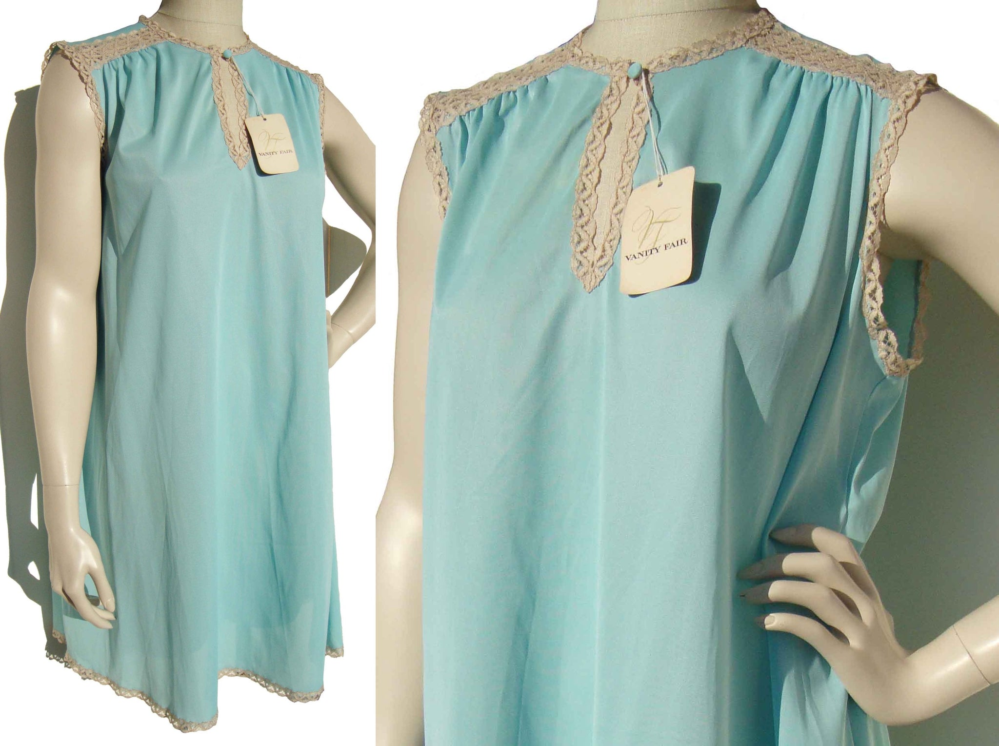 Vintage 70s Nightgown Vanity Fair Turquoise Nylon Nightie M – Deadstock w/ Tag