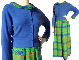 Vintage 70s Skirt & Sweater Set Plaid Wool Boucle M