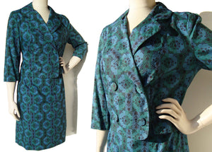 Vintage Ladies Suit Modernist Blue Green Bolero Jacket & Skirt M / L