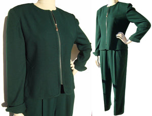 Vintage 80s Dior Suit Ladies Green Wool Pantsuit M / L