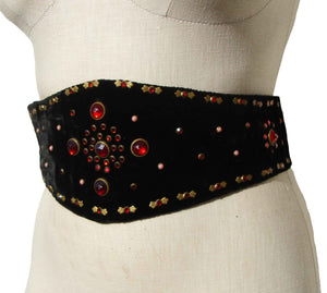 Vintage 40s Jeweled Belt Black Velvet & Jewel Trim