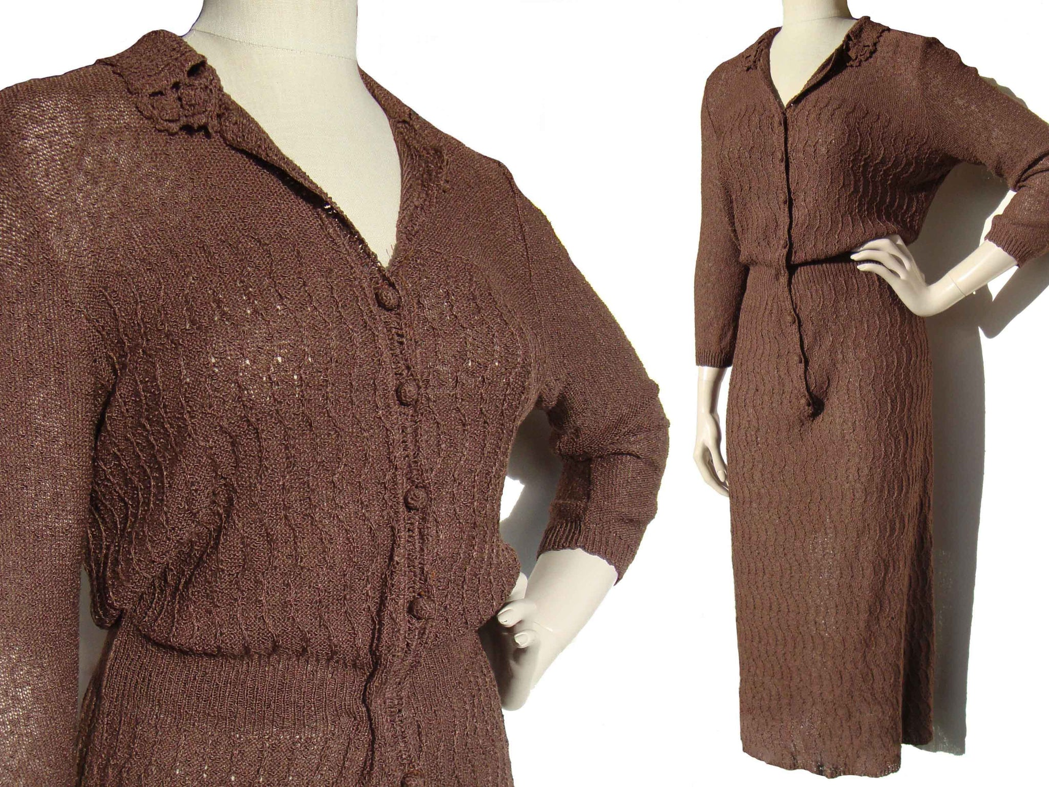 Vintage 50s Dress Glengyle Knitwear Taupe Brown M
