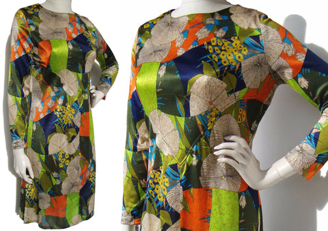 Vintage 70s Dress Abstract Color Block Boho Print Spilke's Screen Print M