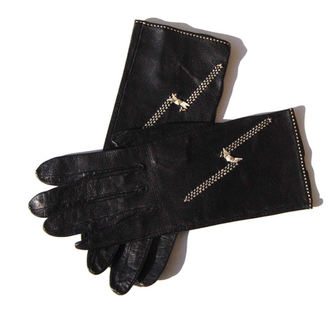 Vintage Short Gloves Womens Black Leather Sz 6.25