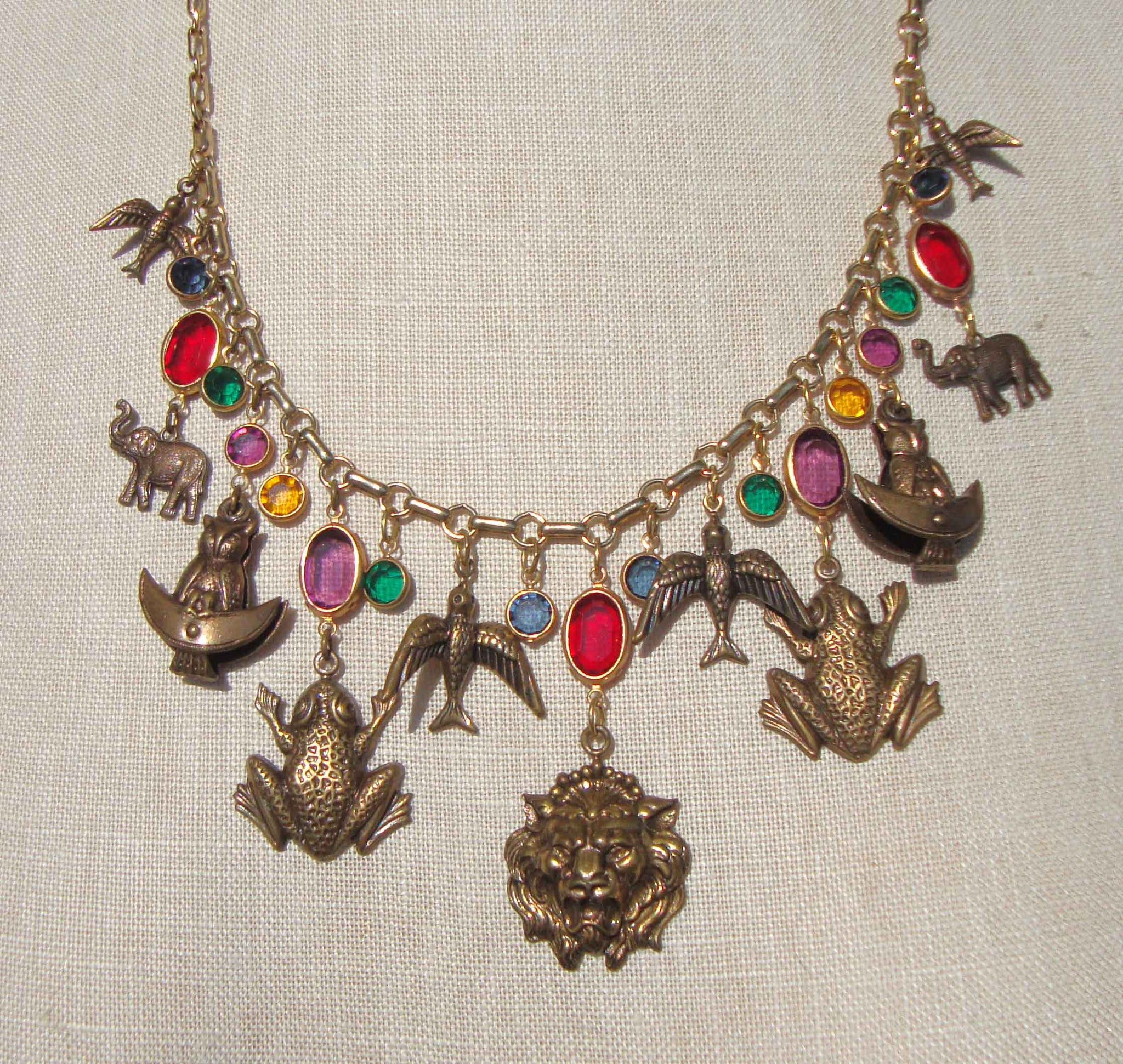 Sadie Green Retro Charm Necklace Animals & Crystal Drops