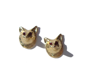 Vintage Fox Earrings Novelty Post Back