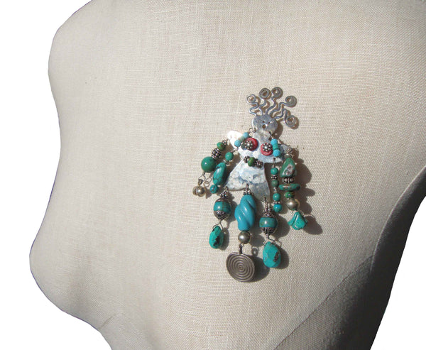 Handmade Beaded Sterling Girl Brooch by VR