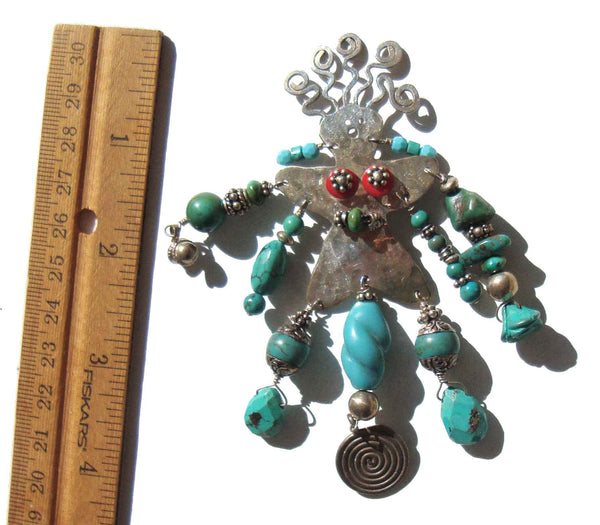 Big Artisan Made Sterling & Turquoise Lady Brooch