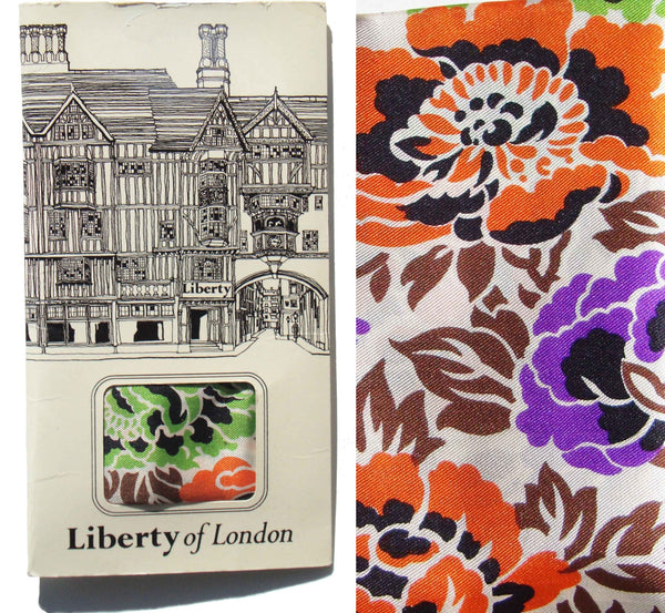Vintage Liberty of London Silk Floral Scarf - Deadstock