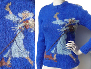 Vintage Blue Sweater Novelty Deco Lady & Dog Knit S / M