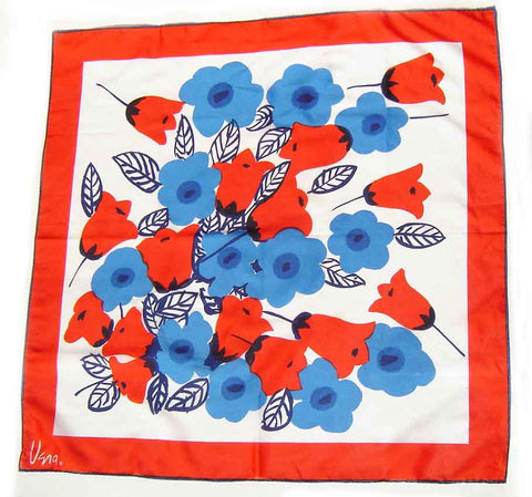 70s Vera Scarf Mod Floral Red White & Blue