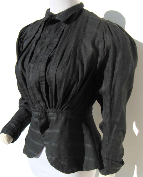 Antique Victorian Bodice Black Cotton Mourning Shirtwaist Goth Steampunk S XS