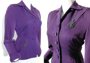 40s Purple Jacket Art Deco Beaded Plum Ladies FLSA Jacket - S