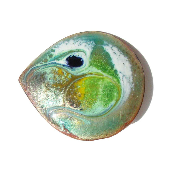 Meab Irish Brooch Green Enameled Copper Brooch