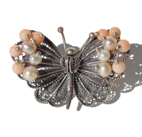 Vintage Butterfly Brooch Sterling Filigree Pearls & Pink Coral Pin