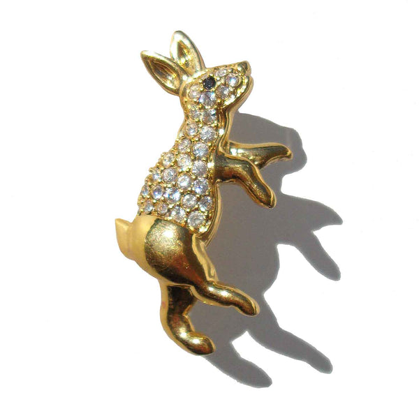 Vintage Monet Bunny Brooch Rhinestone Rabbit Pin