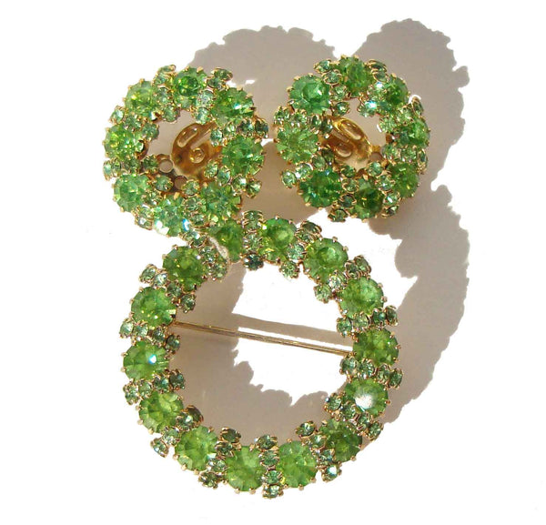 Weiss Demi Parure Peridot Rhinestone Brooch & Earring Wreath Set