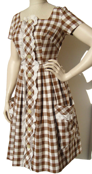 50s Windowpane Plaid Dress