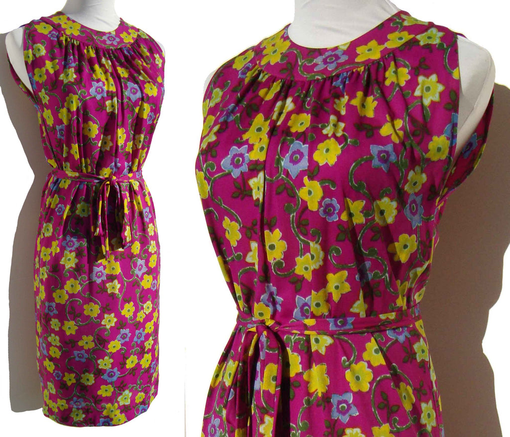 Vintage 60s floral dress wilroy mod purple flower print m metro mod 60s flower dress mightylinksfo
