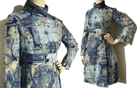 Mod 60s Dress with Nautical Maps