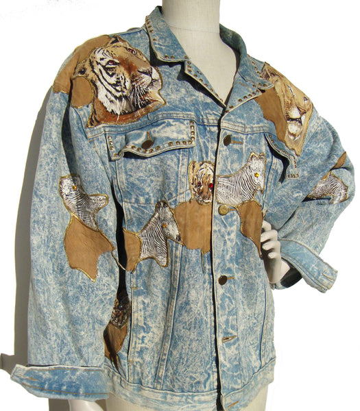 Vintage 90s Demin Jacket with Animals