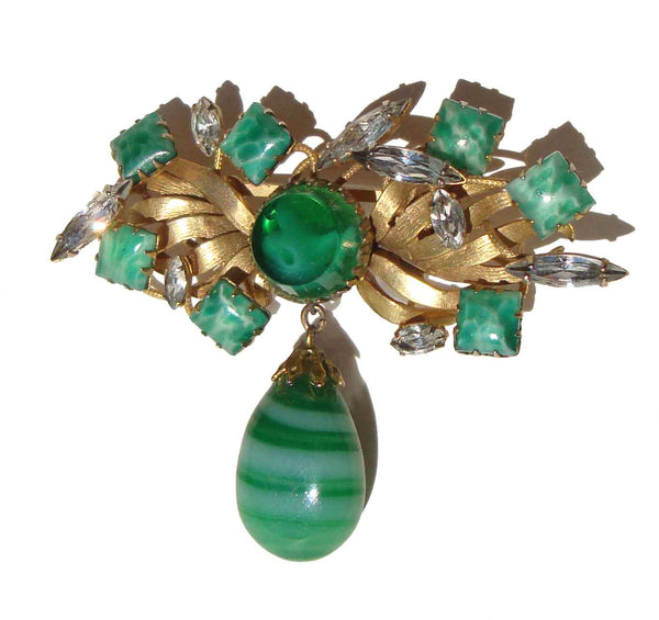 Vintage Peking Glass & Rhinestone Brooch