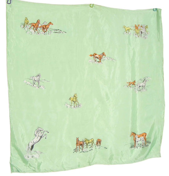 Vintage Horse Rayon Scarf